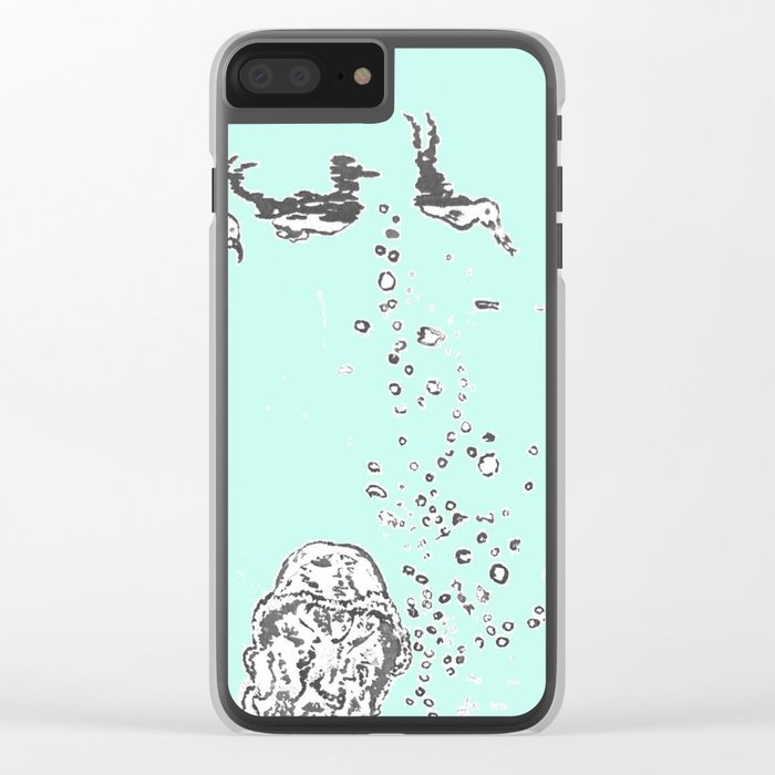 Two Tailed Duck and Jellyfish Mint Green Clear iPhone Case
