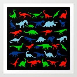 silhouettes of dinosaur pattern Art Print