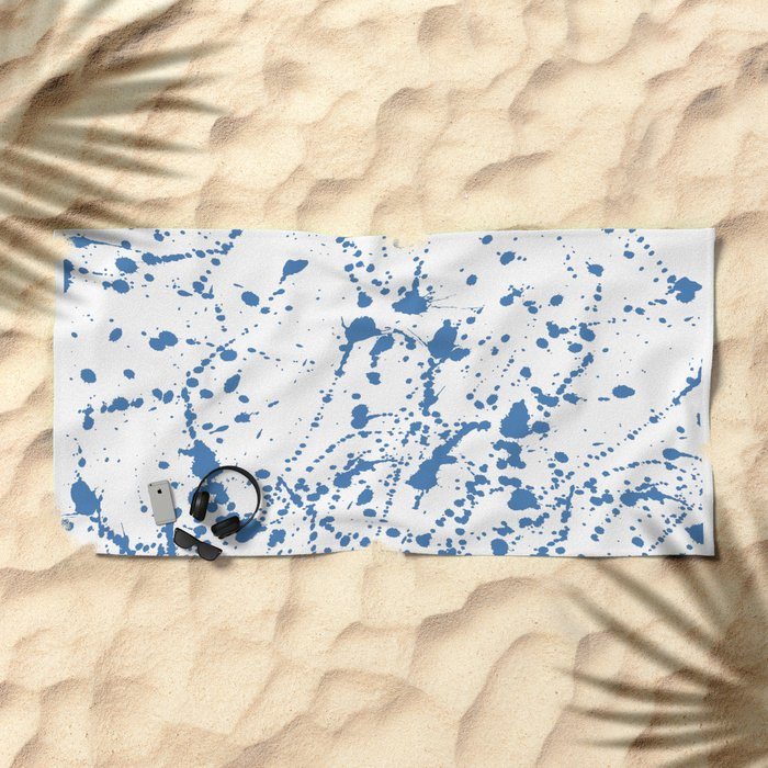 Splat Blue on White Beach Towel