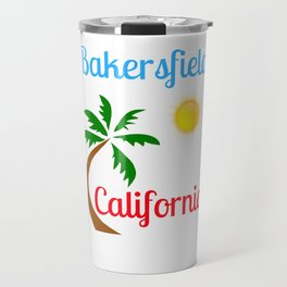Bakersfield California Palm Tree and Sun Travel Mug