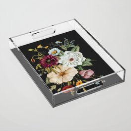 Colorful Wildflower Bouquet on Charcoal Black Acrylic Tray