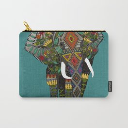 floral elephant teal Carry-All Pouch