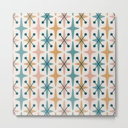 Mid Century Modern Abstract Star Pattern 221 Turquoise Ochre Dusty Rose and Teal Metal Print