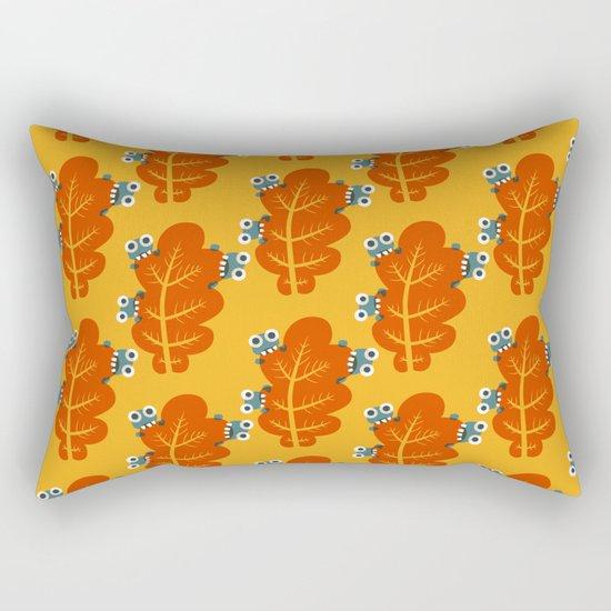 Cute Bugs Eat Autumn Leaf Rectangular Pillow