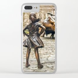 Fearless Girl And Wall Street Bull Statue - New York Clear iPhone Case