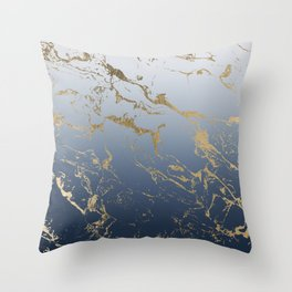 Modern grey navy blue ombre gold marble pattern Throw Pillow