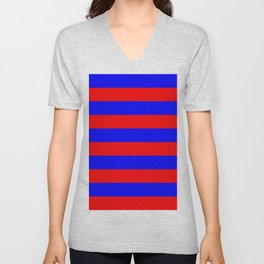 Striped (Classic Blue & Classic Red Pattern) Unisex V-Neck