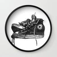 sneakers Wall Clocks featuring sneakers by Cardula
