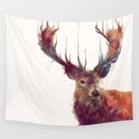 paper towns Wall Tapestries featuring Red Deer // Stag by Amy Hamilton