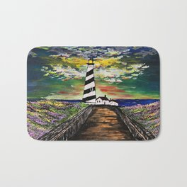 Lighthouse At Dusk Bath Mat