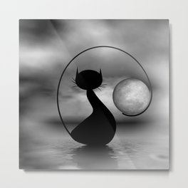 dreaming of mooncats bw -3- Metal Print
