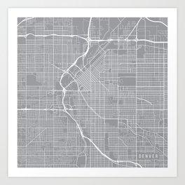 Denver Map, Colorado USA - Pewter Art Print