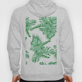 Palm Leaves and Hibiscus Tropical Green Hoody