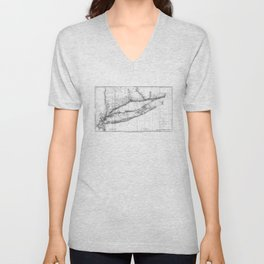 Vintage Map of Long Island NY (1877) BW Unisex V-Neck