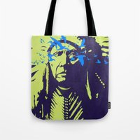 native american Tote Bags featuring Native American  by Ty McKie Creations