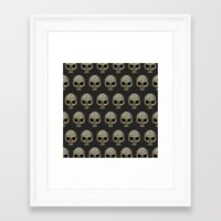 polkadot Framed Art Prints featuring Odd Skull Polkadot by Luke Clark