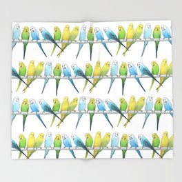Row of Budgies Throw Blanket
