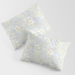 White Floral on Pale Blue Pillow Sham