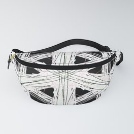 Black & white rattan pattern w/ peekaboo pink and green strings Fanny Pack