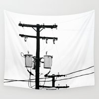 telephone Wall Tapestries featuring Telephone Line by PoseManikin