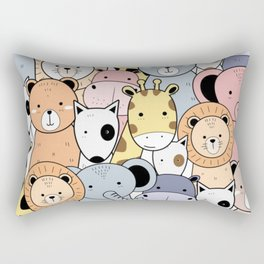 Seamless Pattern With Cute Animals Rectangular Pillow