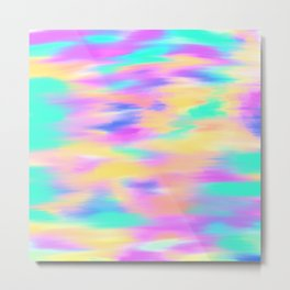 Colorful aqua pink yellow abstract brushstrokes Metal Print