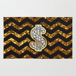 Black & Gold Chevron Diamond & Gold Dollar Sign Rug