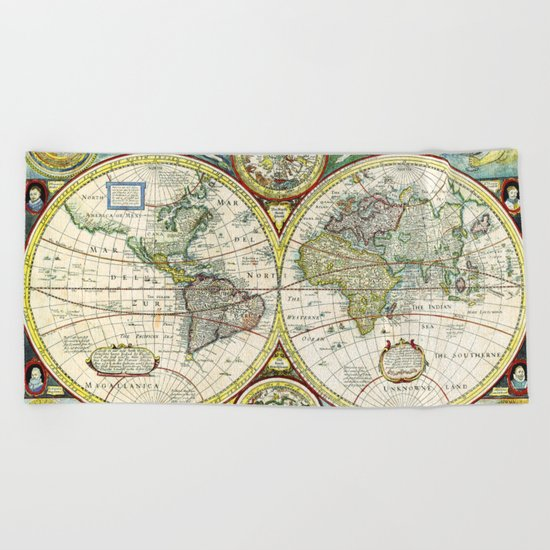 Vintage World Map Antique Beach Towel