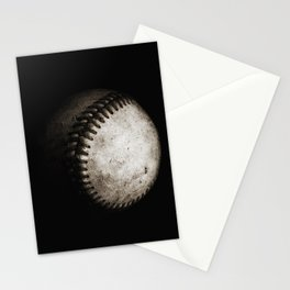 Battered Baseball in Black and White Stationery Cards