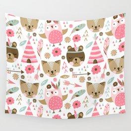 Pink Boho Animals Wall Tapestry