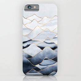 Mountains 2 - Gold Colored Lines iPhone Case