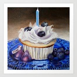 Celebration In Blue Cupcake Painting Art Print