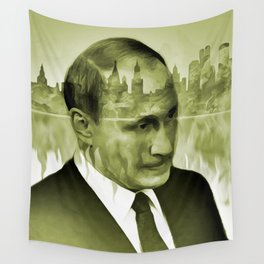 V. Putin on transparent Moscow skyline background  009 04 03 17 Wall Tapestry