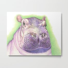 Purple Hippo Metal Print