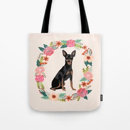 miniature pinscher floral wreath dog breed pet portrait pure breed dog lovers Tote Bag