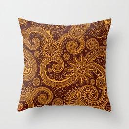 Oriental Persian Paisley, Swirls - Red Yellow Throw Pillow