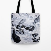 inception Tote Bags featuring Panda Inception by Mark Adamusik