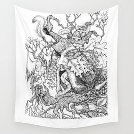 The Green Man Black & White Drawing Wall Tapestry