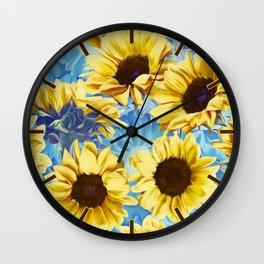 Dreamy Sunflowers on Blue Wall Clock