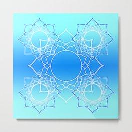 Lotus Mandala (Blue) Metal Print