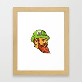 Leprechaun Head Side Drawing Framed Art Print