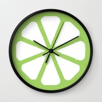 lime Wall Clocks featuring Lime  by Corrie Jacobs