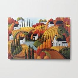 Autumn Glory - folk art landscape Metal Print