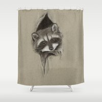 raccoon Shower Curtains featuring Raccoon by Daydreamer
