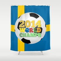 sweden Shower Curtains featuring 2014 World Champs Ball - Sweden by crouchingpixel