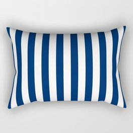 Navy and White Small Even Stripes Rectangular Pillow