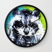 raccoon Wall Clocks featuring RACCOON by Maioriz Home