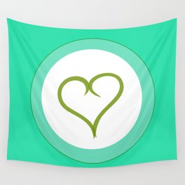 Green Heart with Love Wall Tapestry