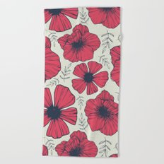 Raspberry Flowers Beach Towel