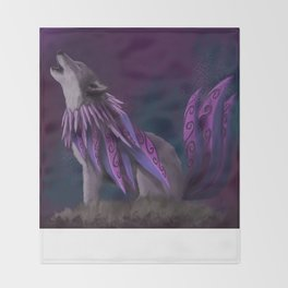 The Enigmatic Wolf Throw Blanket